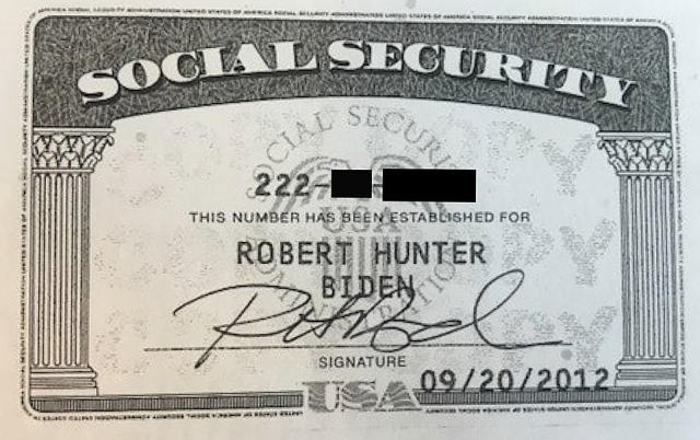 Gift for identity thieves: Hunter Biden's social security card