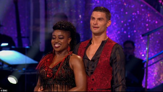 Stars:Clara Amfo and Aljaž Škorjanec took to the dance floor with a Viennese Waltz to You Don't Own Me by SAYGRACE