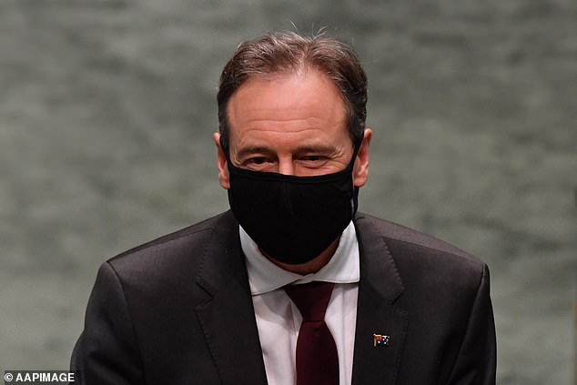 Mr Hunt (pictured) said hope was growing priority Australians like the elderly and healthcare workers would be vaccinated by the first quarter of 2021
