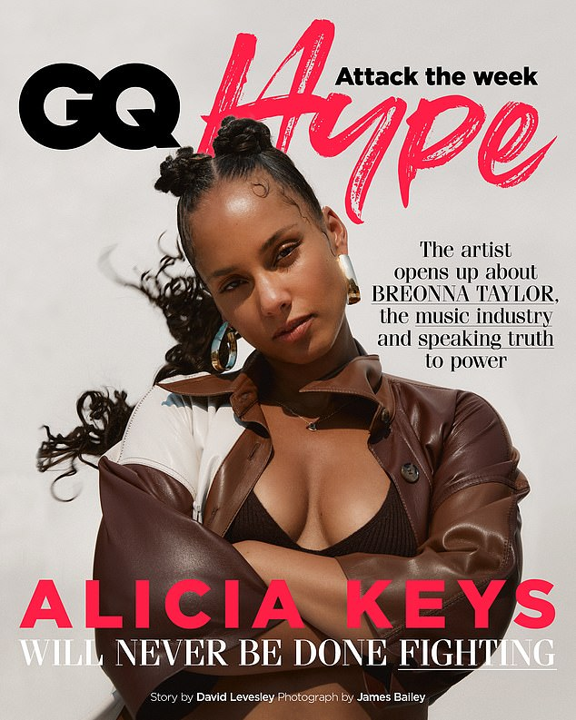 Using her platform: Keys covered appeared in British GQ last month, where she discussed the importance of using her platform as an artist