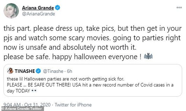 Important message: She later took to Twitter with a similar note, as she retweeted a message from Tinashe, 27