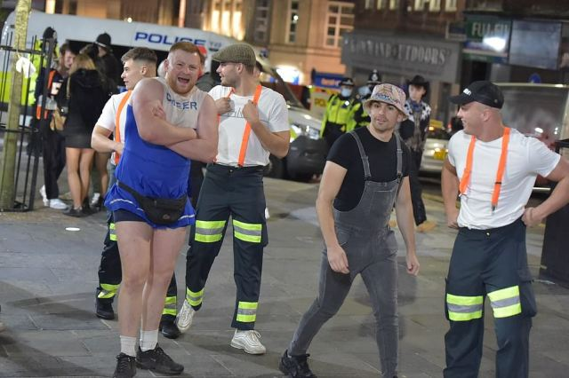 A group of young people went out in Newcastle city centre in fancy dress to mark Halloween