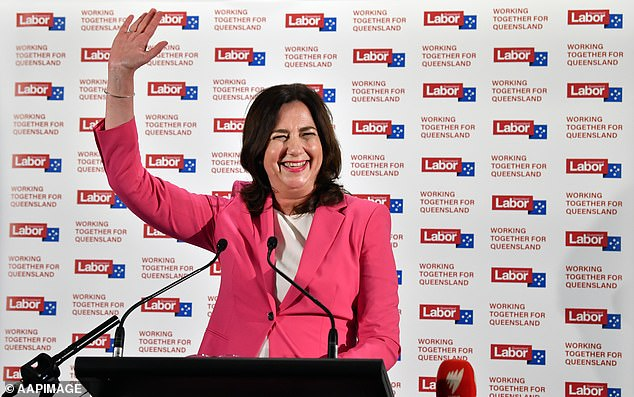 Mr Ashby delivered the comments after Labor secured a landslide victory and took home the majority of the vote on Saturday night (pictured, state premier Annastacia Palaszczuk celebrates the landslide victory)