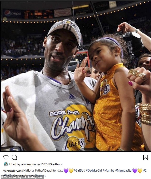 In her heart: After the Lakers won the Championships, Vanessa posted a throwback snap of Gianna and Kobe, while congratulating her husband's team on pulling out the big win