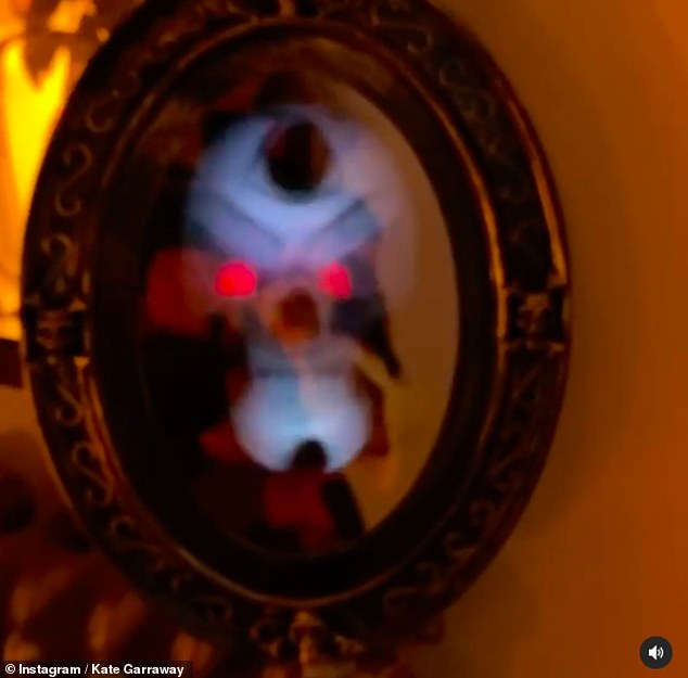 Spooky: One of the decorations in the house was a creepy skull hologram in a mirror