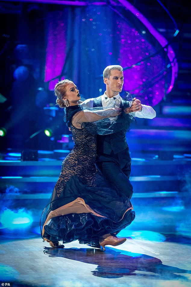 Wow:The second round of the competition saw the flame-haired beauty pull out all the stops to impress the judges and audience at home with the fiery routine choreographed by professional dancer Gorka, 30