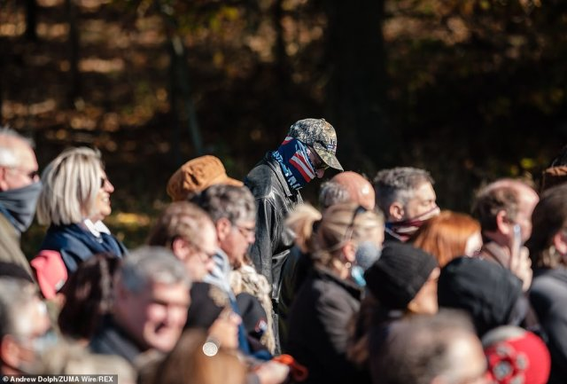 People pray during a Make America Great Again event with Ivanka Trump and Ohio Senator Rob Portman on Saturday