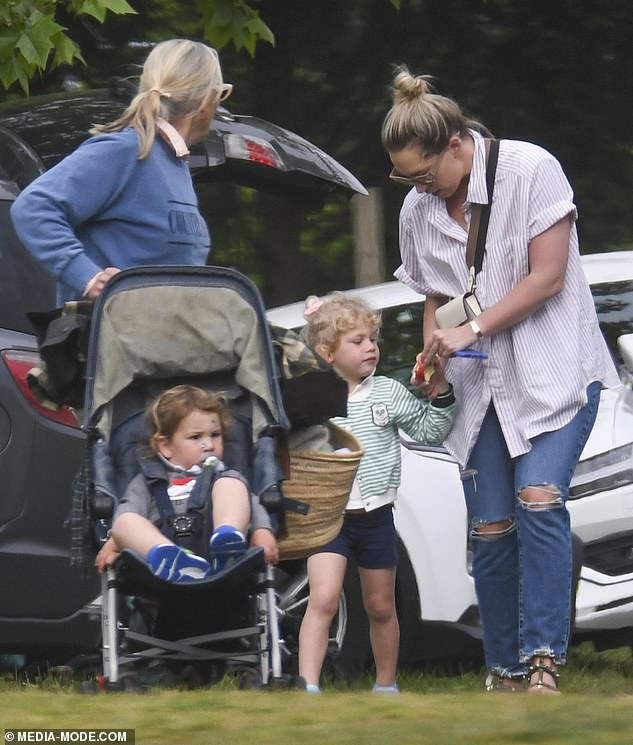 First sighting: Phoebe's outing marked the first time the ex-WAG was spotted since bombshell claims regarding Sam's personal life surfaced
