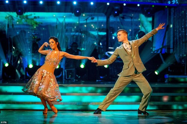 Favourite:Singer HRVY also showed off his impressive moves scoring 24 points after performing a Viennese Waltz to Stuck With U by Ariana Grande and Justin Bieber with professional dancer Janette Manrara