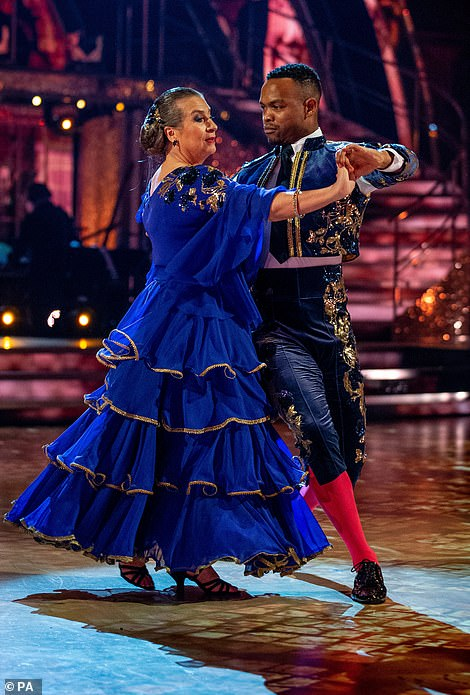 Almost over: The penultimate performance of the night was Caroline Quentin and Johannes Radebe's Paso Doble to El Gato Montes by Ramon Cortez