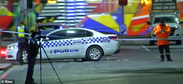 On Saturday night, a 58-year-old handed himself into Moonee Ponds police station. Pictured: The crime scene