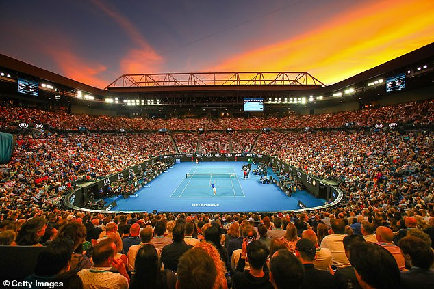 Australian Open tennis officials plan to host 400,000 fans over the two week event in January. Pictured: the crowd watches on as Novak Djokovic plays Rafael Nadal in the 2019 Australian Open final