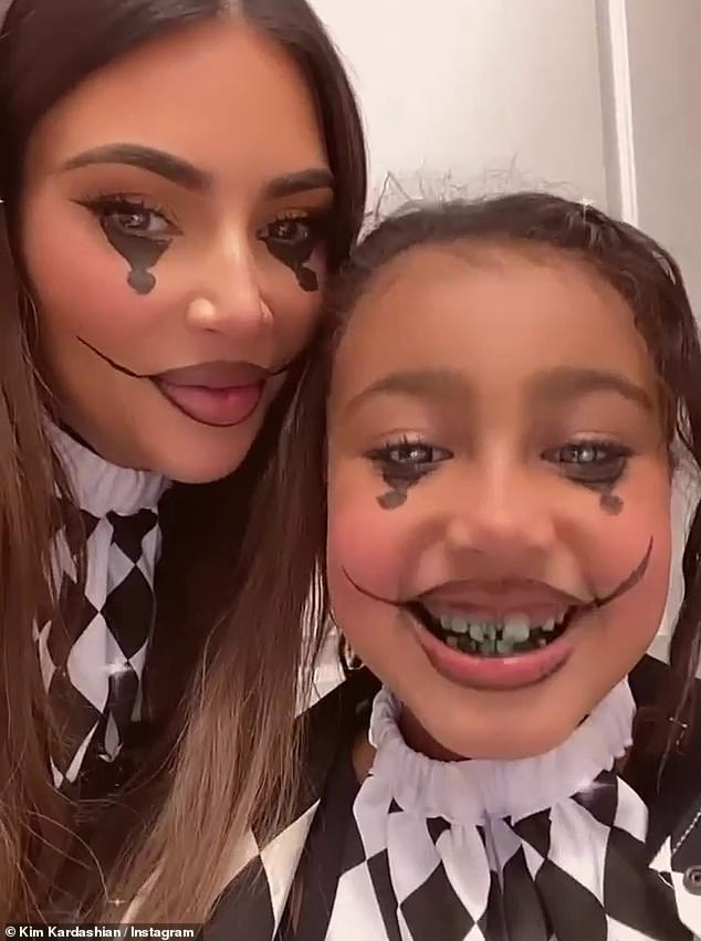 Full of joy:North and Kim could both be seen smiling ear to ear while posing up together for selfie footage on the reality TV superstar's social media