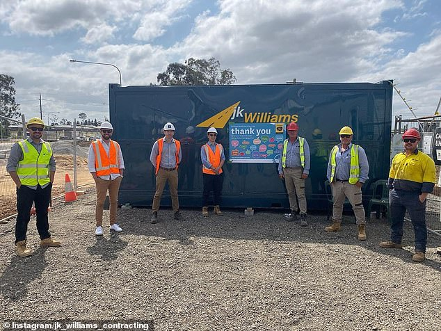 The couple said Stockland sent out a letter explaining Denham Court Road (construction pictured) would be expanded in February 2019 but did not include finalised details