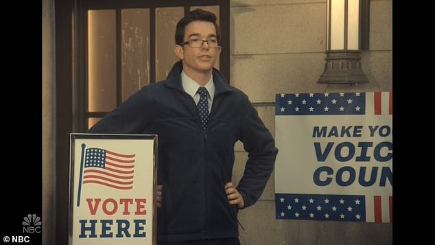 True to life: But Mulaney appeared to tell them all the nearby polling places had been closed.Even once they found one, right-wing militia members with long guns intimidated them