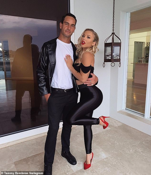 Grease lightning!Tammy Hembrow and Matt Poole (both pictured) dressed up as another iconic couple - Danny and Sandy from the movie Grease, originally played by John Travolta and Olivia Newton John, for Halloween