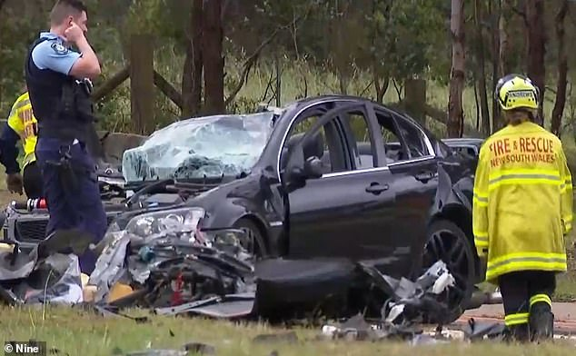 The accident occured hours before a horror crash claimed two young teens in Sydney's south-west near Fairfield. Pictured are emergency services at the scene of the fatal crash