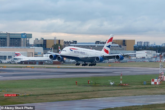 Internal travel within the UK for any reason, apart from work, education or other legally permitted exemptions, will also be banned as part of the month-long lockdown - which comes into play from Thursday. Pictured: A BA flight at Heathrow