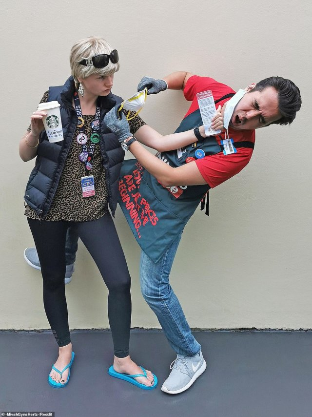 One couple re-enacted a scene from earlier this year where a Melbourne woman, dubbed Bunnings 'Karen', clad in leggings, and a vest while clutching a Starbucks cup, unleashed on a Bunnings employee who asked her to wear a face mask