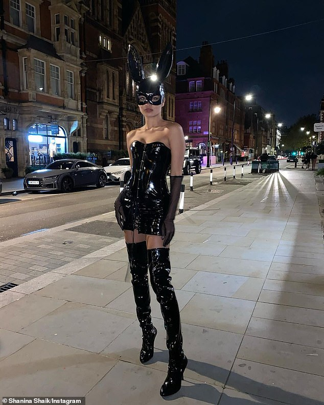 Racy: Over in London, Victoria's Secret model Shanina Shaik, 29, ensured all eyes were on her when she dressed up as a 'bad bunny'