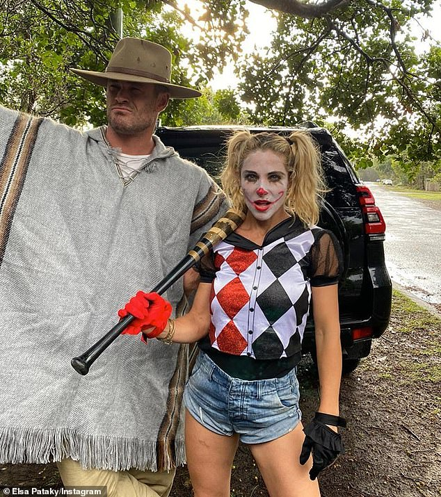 A-list: Chris Hemsworth, 37, kept his look simple as a South American cowboy by dressing up in a poncho, a brimmed hat and sunglasses. Wife, Elsa Pataky, 44, put in plenty of effort to channel DC Comics villain Harley Quinn, played by Margot Robbie in the Suicide Squad films