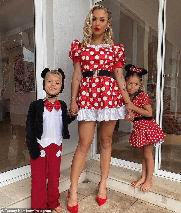 Family fun: The fitness mogul also dressed up as Minnie Mouse this weekend, with her adorable children, Wolf, five, and Saskia, four