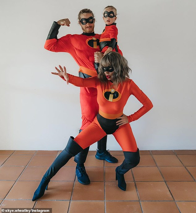 Superhero family: Pregnant Skye Wheatley, 26, boyfriend Lachlan Waugh and their son Forest, one, dressed up as The Incredibles