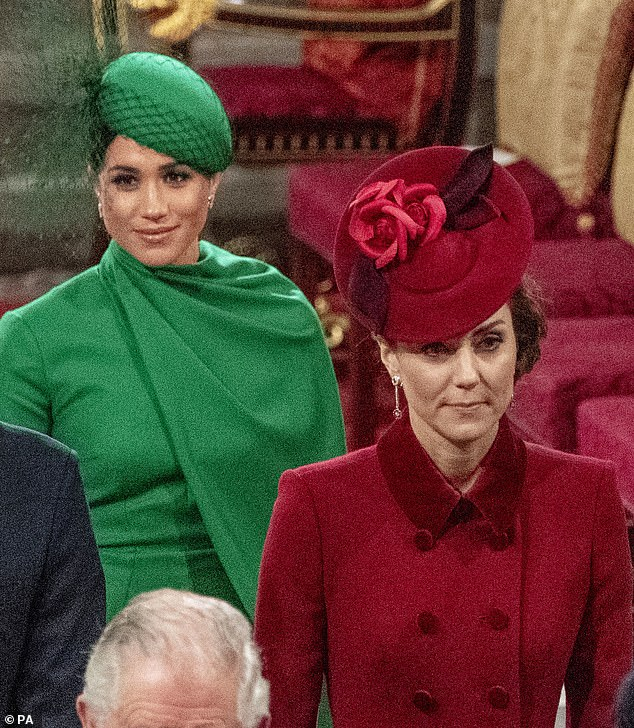 Sister-in-laws Kate Middleton, 38, and Meghan Markle, 39, pictured together in March at the Commonwealth Service at Westminster Abbey