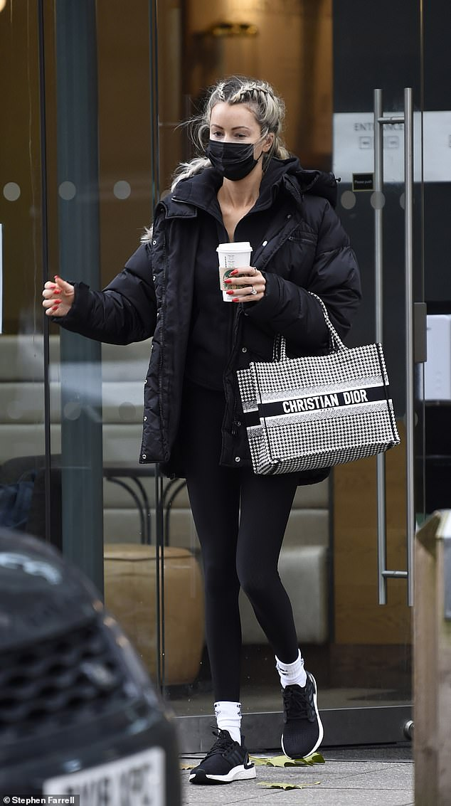 Out and about: The Olivia Meets Her Match star, 29, ditched her typically glamorous style in favour of a casual appearance as she fuelled up on coffee