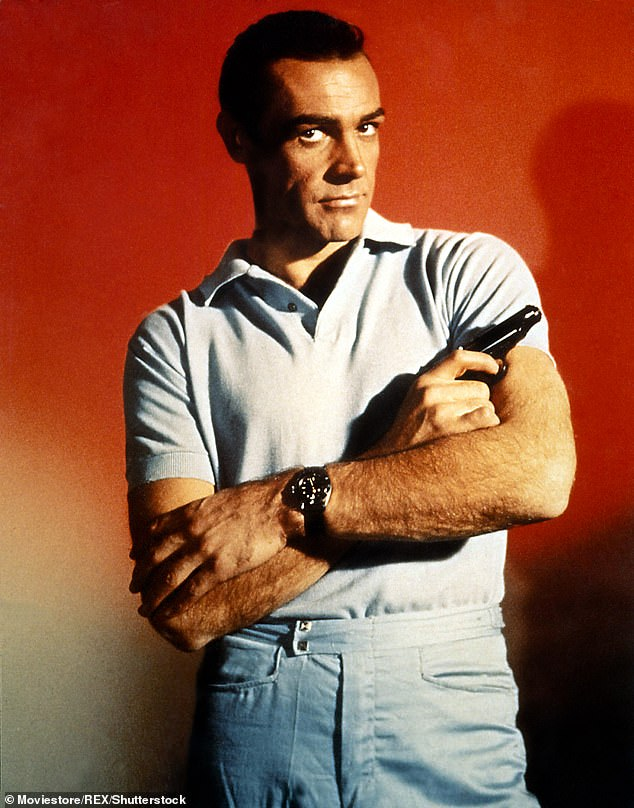 Respect: Over the weekend, it was announced that Connery died in his sleep at his home in the Bahamas after being diagnosed with dementia in the later years of his life, after which Pierce branded him 'the greatest James Bond' (pictured in Dr No in 1962)