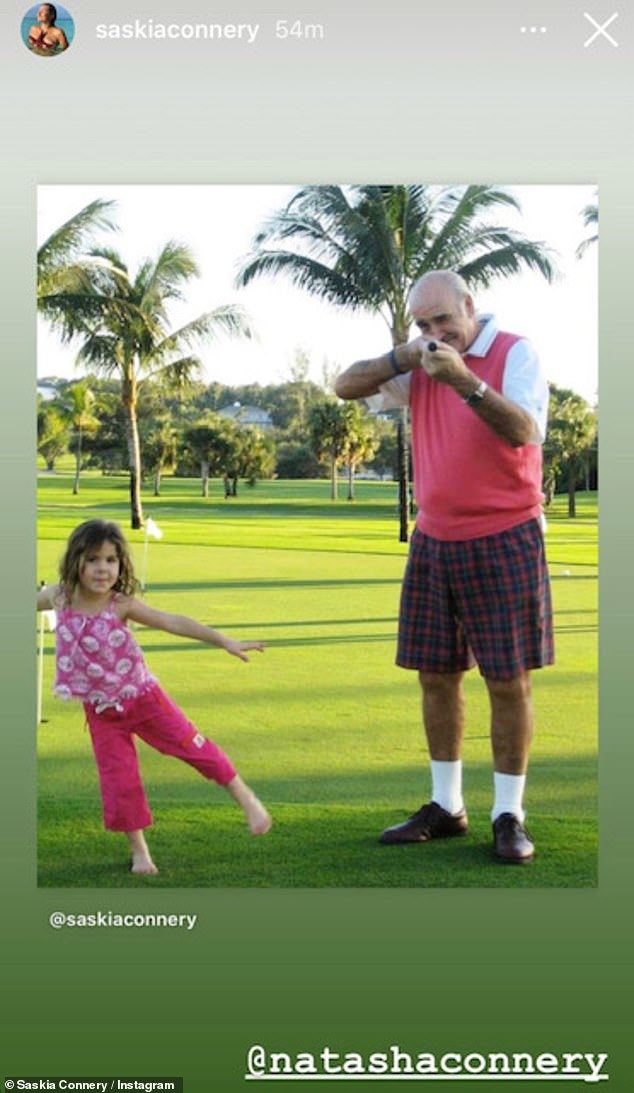 Memories: Saskia shared adorable childhood snaps including one with Sean posing on a golf course