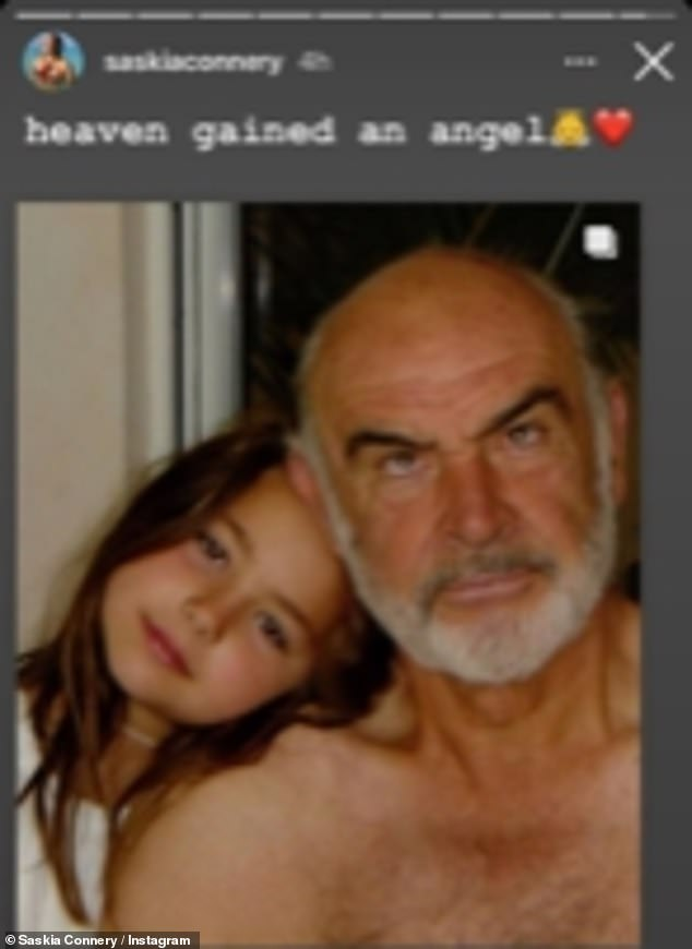Family:Saskia Connery shared an emotional message to her social media followers following the James Bond star's passing, calling him her 'best friend'