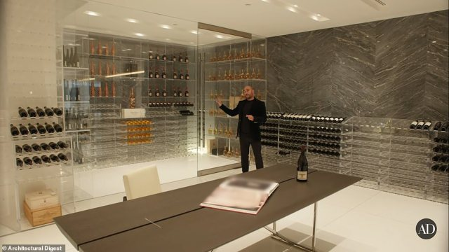 Downstairs the home features a wine cellar with plenty of storage and shelves to showcase special bottles
