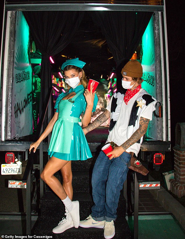Party truck:Justin and Hailey Bieber were among the lucky few to receive a visit from the Casamigos Halloween party truck on Saturday, from the tequila brand owned by George Clooney, Rande Gerber and Mike Meldman