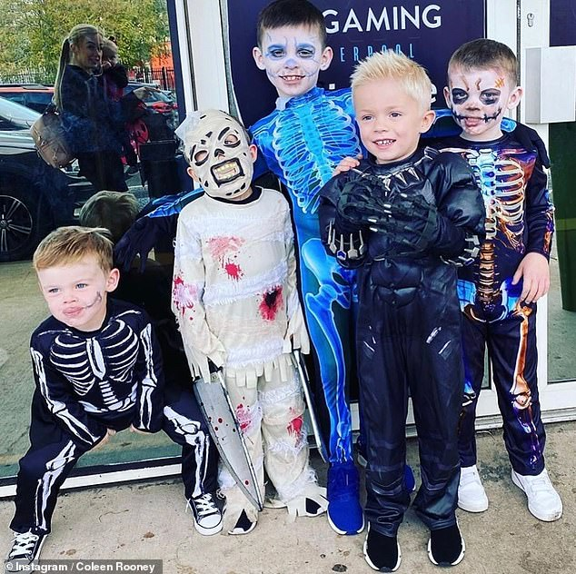 Happy Halloween! Coleen Rooney shared a cute snap of her sons in skeleton costumes to Instagram on Sunday (Klay, Kit and Cass pictured)