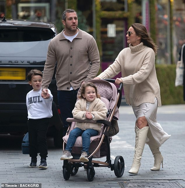 Family first: Sam Faiers and Paul Knightley had a great time with their children Paul Jr, four, and Rosie, two, as they dined at Relais De Venise L'Entrecote in Marylebone on Sunday