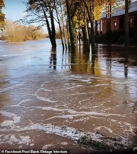 Video showed the floods after the River Wharfe burst its banks in Yorkshire on Sunday and Monday