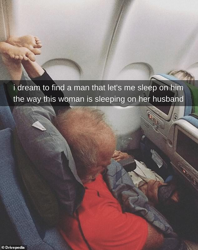 Put your toes in the air! This woman used her husband as a bed while sticking her feet up during their flight