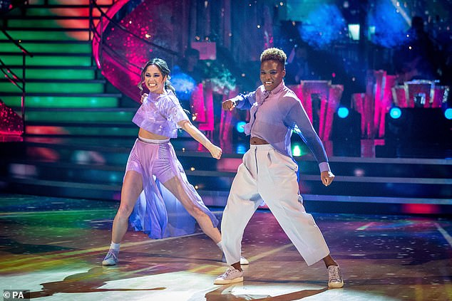 Impressive: They came third on last week's leaderboard (pictured) as they continue to make history as the first ever same-sex dancing couple on the BBC show