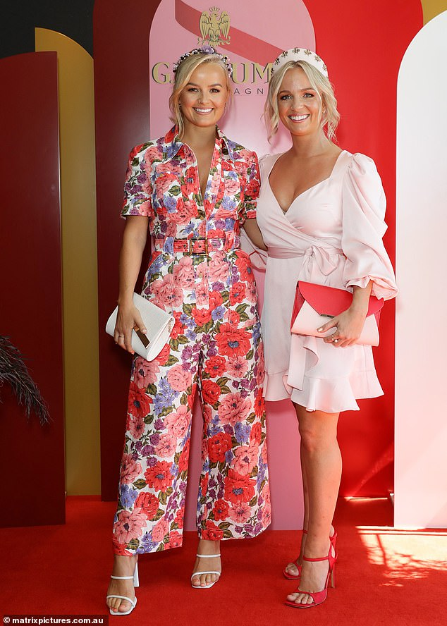 Fashionably late: the Bachelorette stars Elly (left) and Becky Miles (right) arrived late to the G.H. Mumm Melbourne Cup lunch in Sydney on Tuesday, and missed the iconic race
