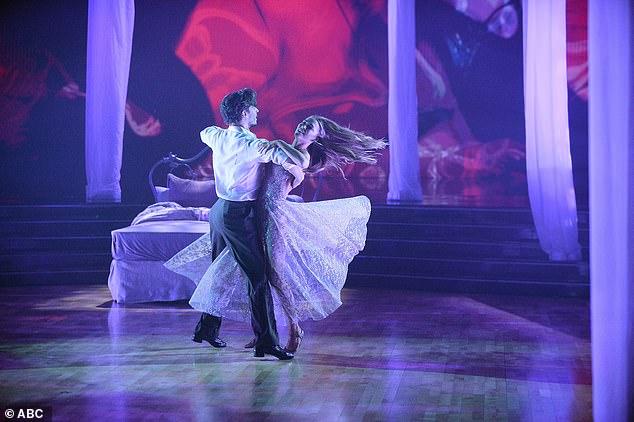 Sexy waltz:Chrishell Stause and Gleb Savchenko had danced a sexy Viennese waltz to Rihanna's Love On The Brain, which left Bruno fanning himself