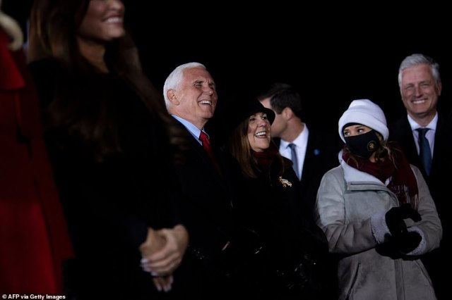 Mike Pence, Karen Pence, National Security Advisor Robert O'Brien and others listen while Trump addresses the crowd
