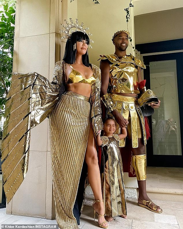 Family affair:Khloe Kardashian shared a slew of snapshots she took of herself, beau Tristan Thompson, and their daughter True, two, on Halloween to Instagram on Monday