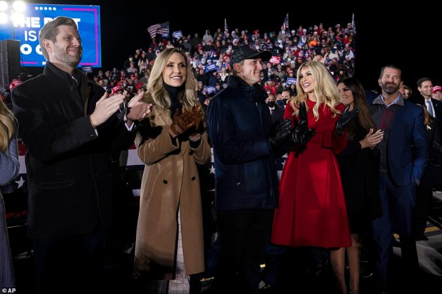 The president's final rally drew hundreds of people in the freezing night to the Grand Rapids airport