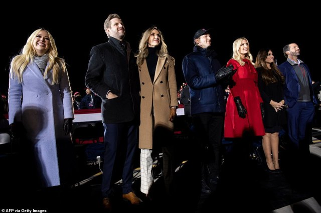 The 'first family' listen on as Trump delivers his closing arguments in the election race