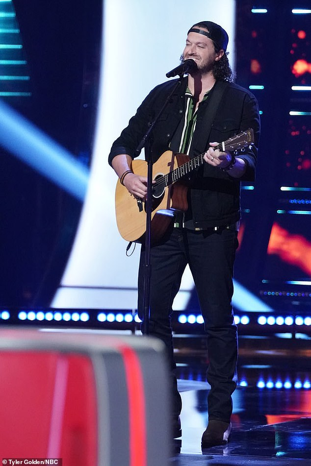 Tough pick:John Sullivan, 32, a former baseball player from Denver, North Carolina, unveiled an intimate version of Jim Croce's Operator, and got Gwen and Blake to turn