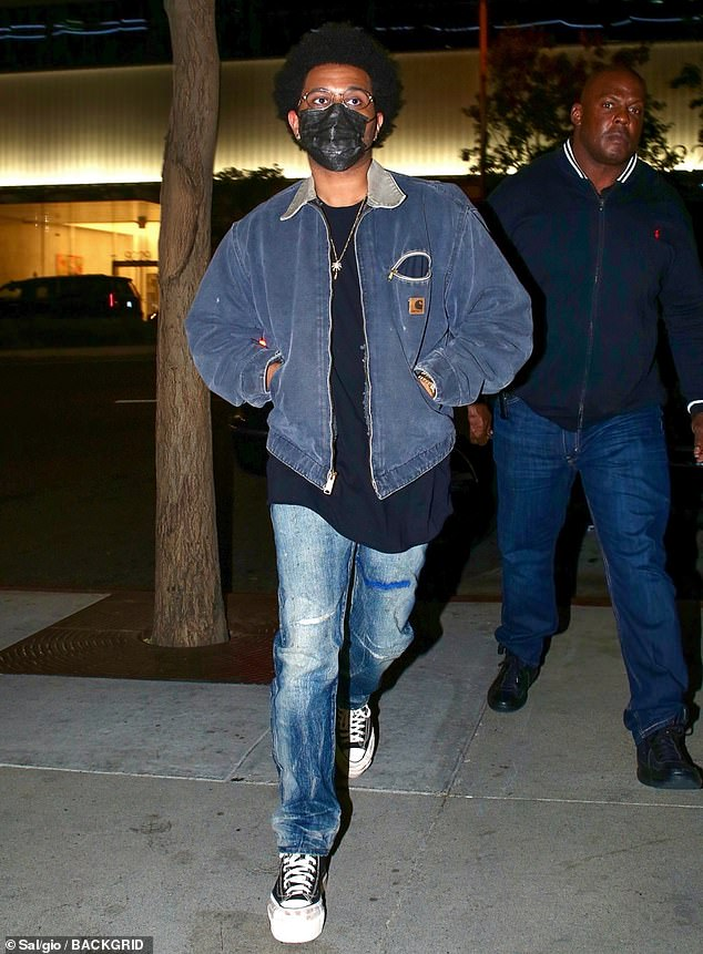 Cool:The Weeknd was seen leaving dinner at BOA Steakhouse in West Hollywood, Los Angeles