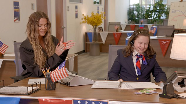 Young expert: The 36-year-old reality star joined 10-year-old Hensley, who first appeared on Ellen's show four years ago and dazzled the host with her political knowledge