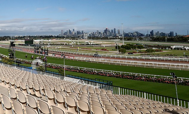 Pictured: An empty Flemington Racecourse. There were no crowds at the Melbourne Cup on Tuesday due to the coronavirus pandemic