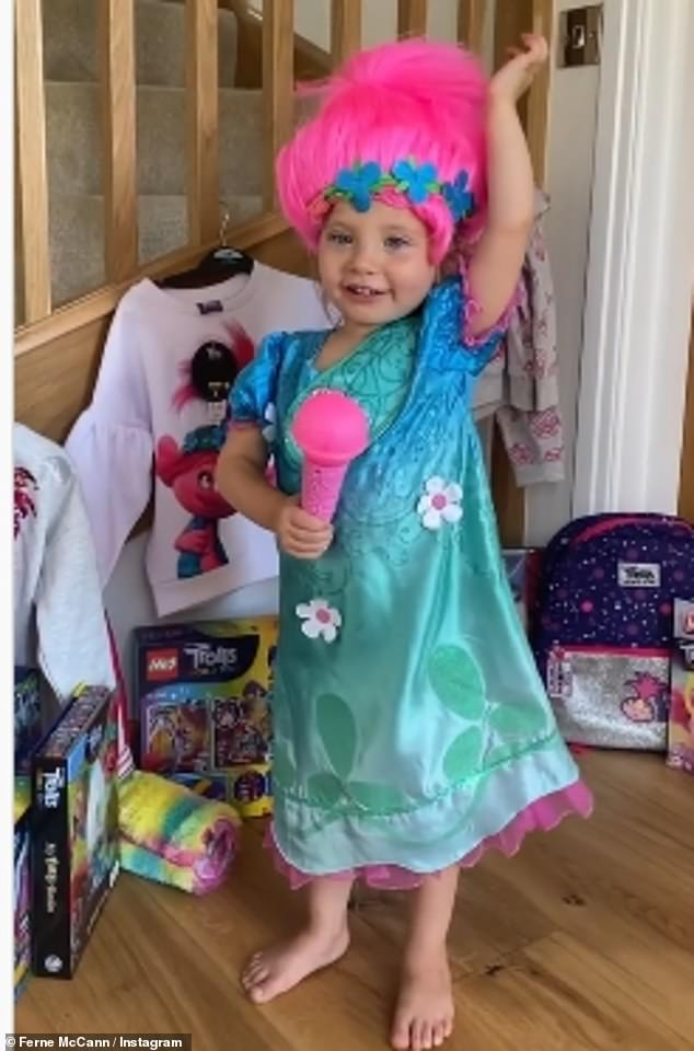 Dressing up: Some of the clips showed Sunday dressed up as a ballerina and as a Trolls character